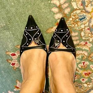 BCBG AKLA Pointed Sling Back Kitten Heels